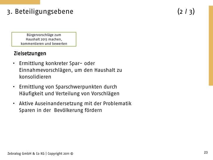 3. Beteiligungsebene                                 (2 / 3)           Bürgervorschläge zum          Haushalt 2013 machen,...