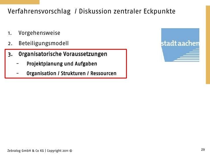 Verfahrensvorschlag / Diskussion zentraler Eckpunkte1.    Vorgehensweise2.    Beteiligungsmodell3. Organisatorische Voraus...