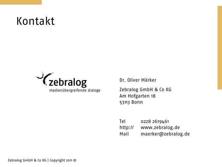 Kontakt                                           Dr. Oliver Märker                                           Zebralog Gmb...