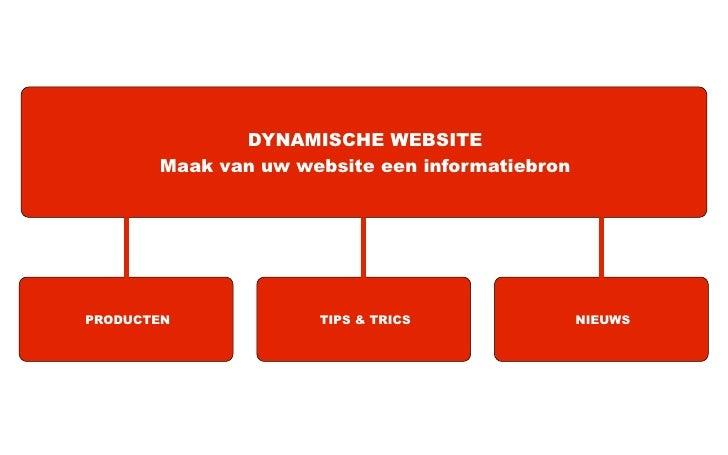 DYNAMISCHE WEBSITE       Maak van uw website een informatiebronPRODUCTEN            TIPS & TRICS               NIEUWS