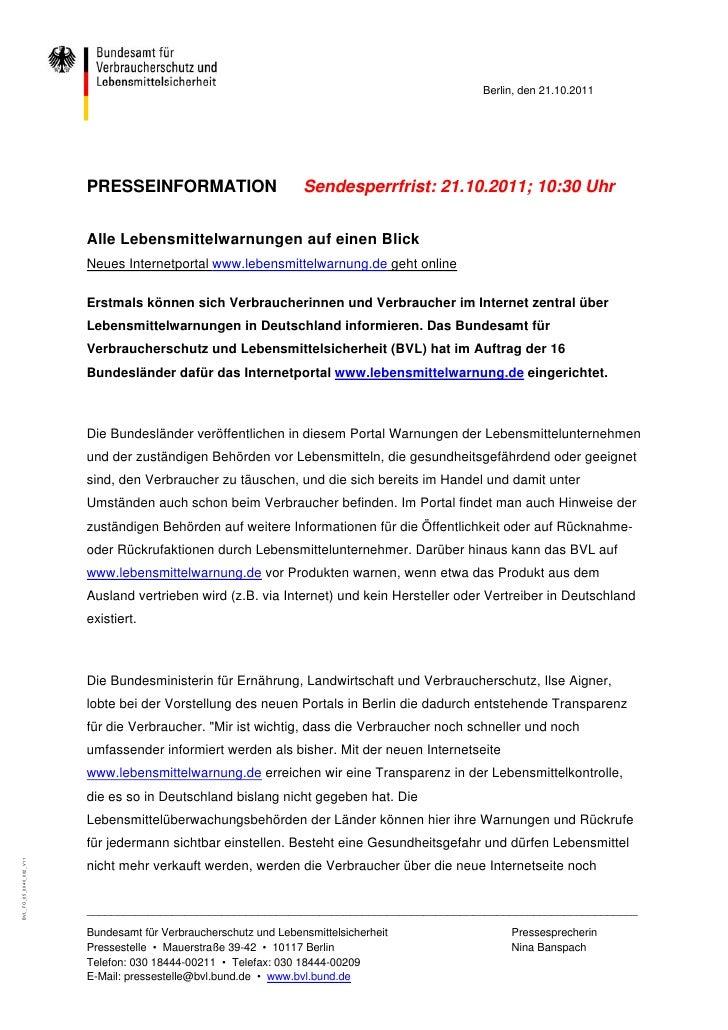 Berlin, den 21.10.2011                         PRESSEINFORMATION                        Sendesperrfrist: 21.10.2011; 10:30...