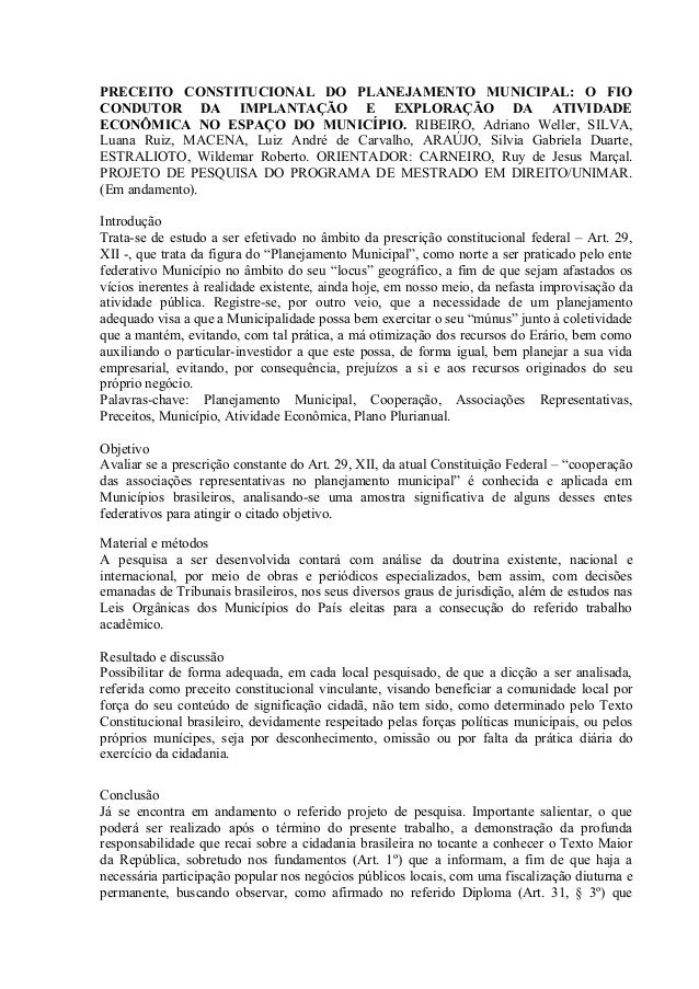 PRECEITO CONSTITUCIONAL DO PLANEJAMENTO MUNICIPAL: O FIOCONDUTOR DA IMPLANTAÇÃO E EXPLORAÇÃO DA ATIVIDADEECONÔMICA NO ESPA...