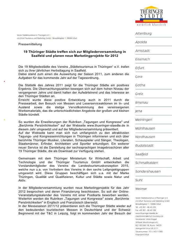 Pressemitteilung   19 Thüringer Städte treffen sich zur Mitgliederversammlung in       Saalfeld und planen neue Marketingp...
