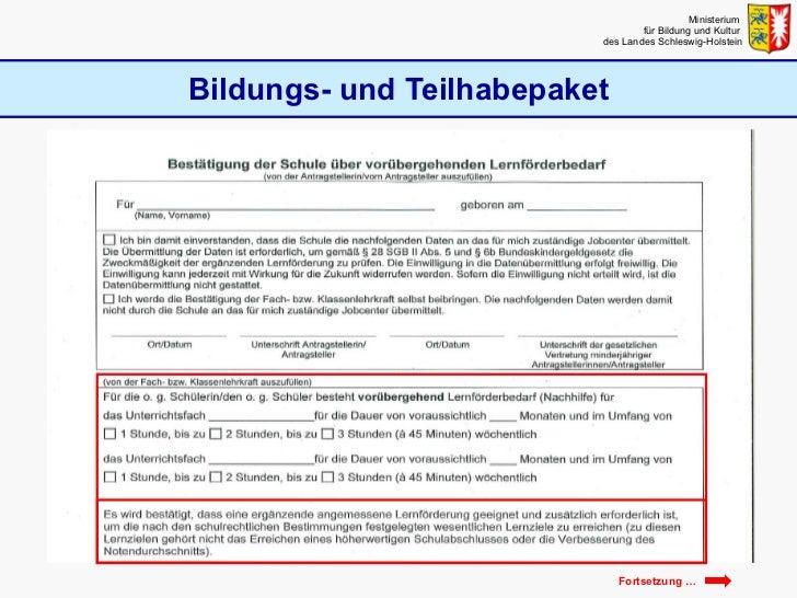 Bildungs- und Teilhabepaket Ministerium  für Bildung und Kultur  des Landes Schleswig-Holstein Fortsetzung …