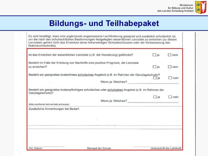 Bildungs- und Teilhabepaket Ministerium  für Bildung und Kultur  des Landes Schleswig-Holstein