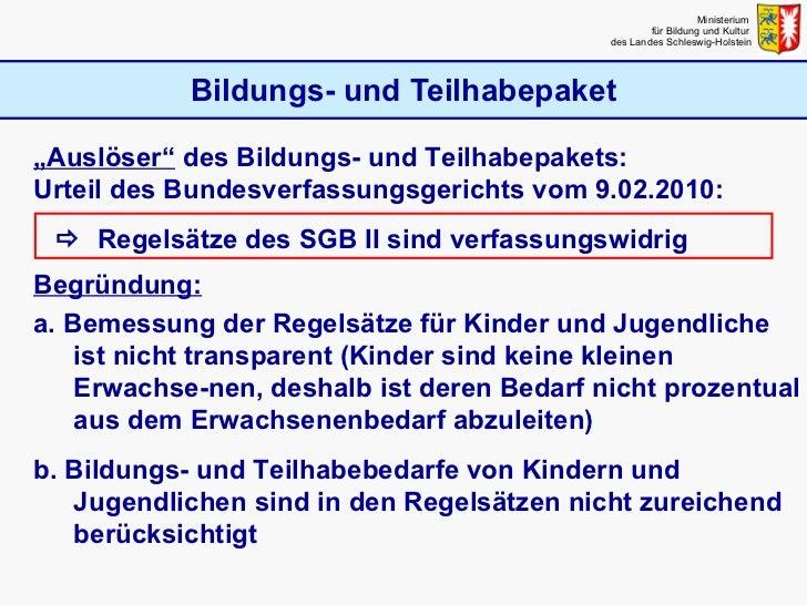 """Bildungs- und Teilhabepaket Ministerium  für Bildung und Kultur  des Landes Schleswig-Holstein """" Auslöser""""  des Bildungs- ..."""