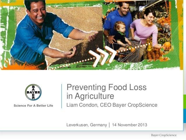 Preventing Food Loss in Agriculture Liam Condon, CEO Bayer CropScience  Leverkusen, Germany │ 14 November 2013