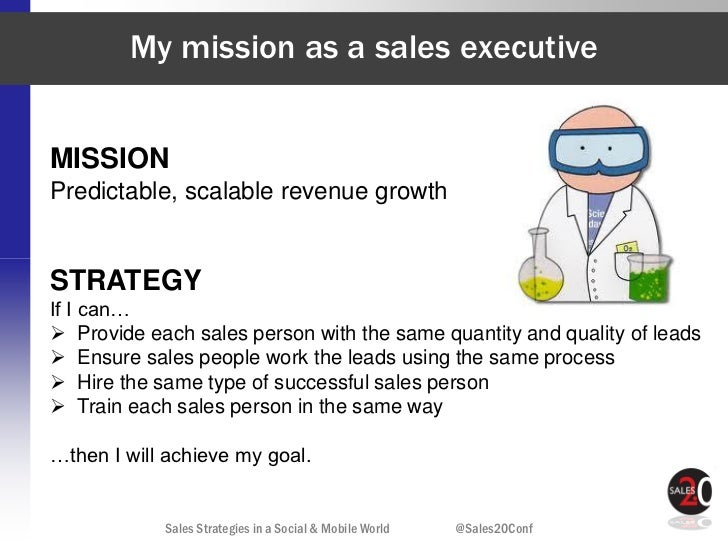 My mission as a sales executiveMISSIONPredictable, scalable revenue growthSTRATEGYIf I can… Provide each sales person wit...