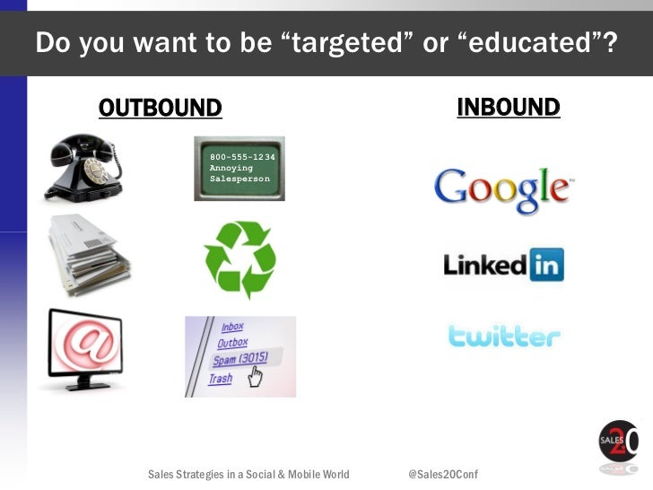 """Do you want to be """"targeted"""" or """"educated""""?    OUTBOUND                                                  INBOUND          ..."""