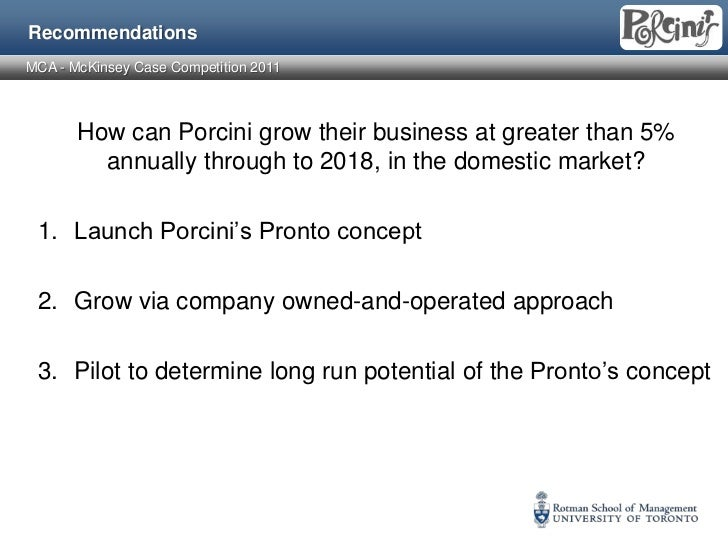 porcini s pronto case draft Porcini's greatest problem was the near saturation of market outlets with this it had to seek options of national expansion as it could not compete with the big players with huge resources and brand name.