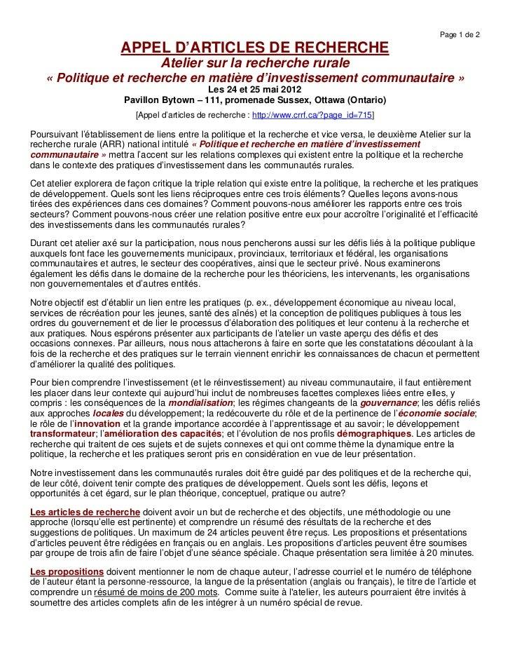 Page 1 de 2                        APPEL D'ARTICLES DE RECHERCHE                                  Atelier sur la recherche...