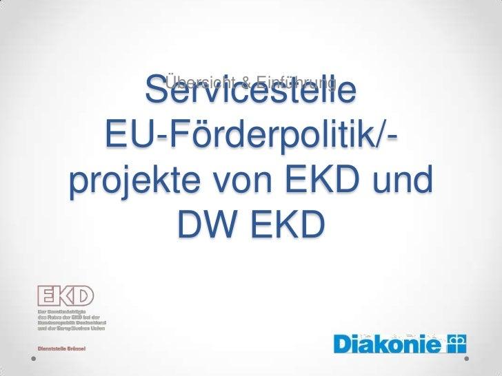 Servicestelle     Übersicht & Einführung  EU-Förderpolitik/-projekte von EKD und       DW EKD