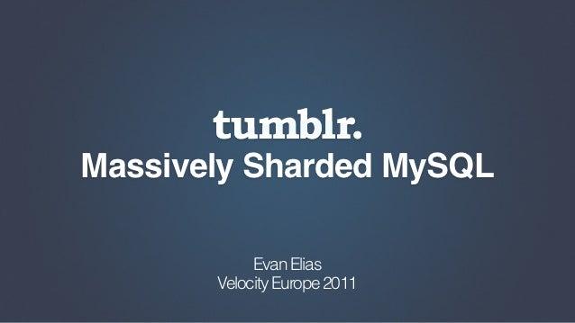 Massively Sharded MySQL            Evan Elias       Velocity Europe 2011