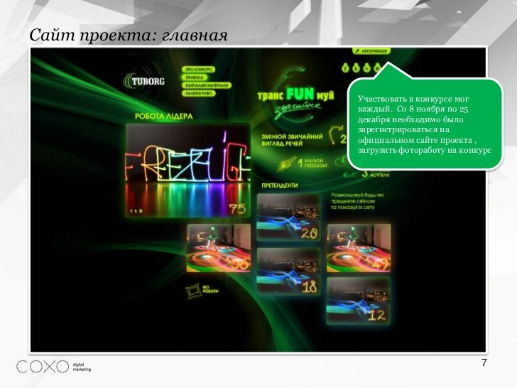 Сайт проекта: главная                        Участвовать в конкурсе мог                        каждый. Со 8 ноября по 25  ...