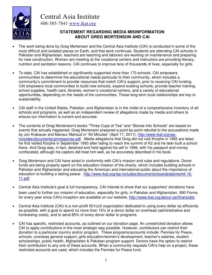 Central Asia Institute                 406-585-7841 www.ikat.org                             STATEMENT REGARDING MEDIA MIS...