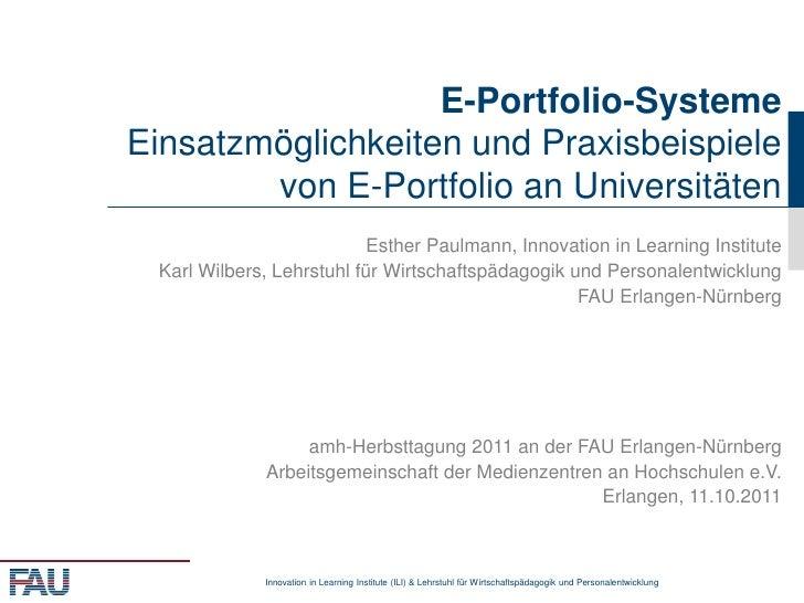 E-Portfolio-SystemeEinsatzmöglichkeiten und Praxisbeispiele        von E-Portfolio an Universitäten                       ...