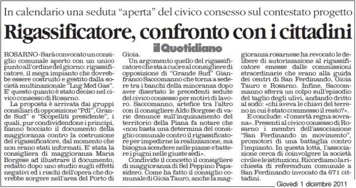 Il Quotidiano della Calabria dell'1/12/2011