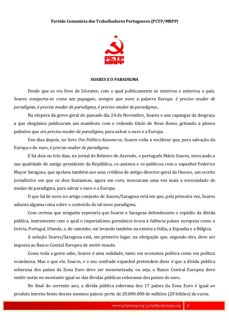 Partido Comunista dos Trabalhadores Portugueses (PCTP/MRPP)                                        SOARES E O PARADIGMA   ...