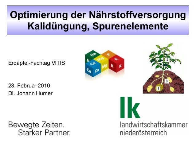 Optimierung der Nährstoffversorgung Kalidüngung, Spurenelemente  Erdäpfel-Fachtag VITIS  23. Februar 2010 DI. Johann Humer