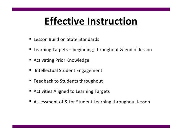 Effective Instruction <ul><ul><ul><li>Lesson Build on State Standards  </li></ul></ul></ul><ul><ul><ul><li>Learning Target...