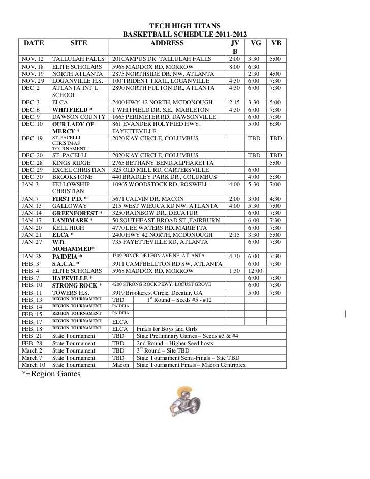 TECH HIGH TITANS                                   BASKETBALL SCHEDULE 2011-2012DATE             SITE                    A...