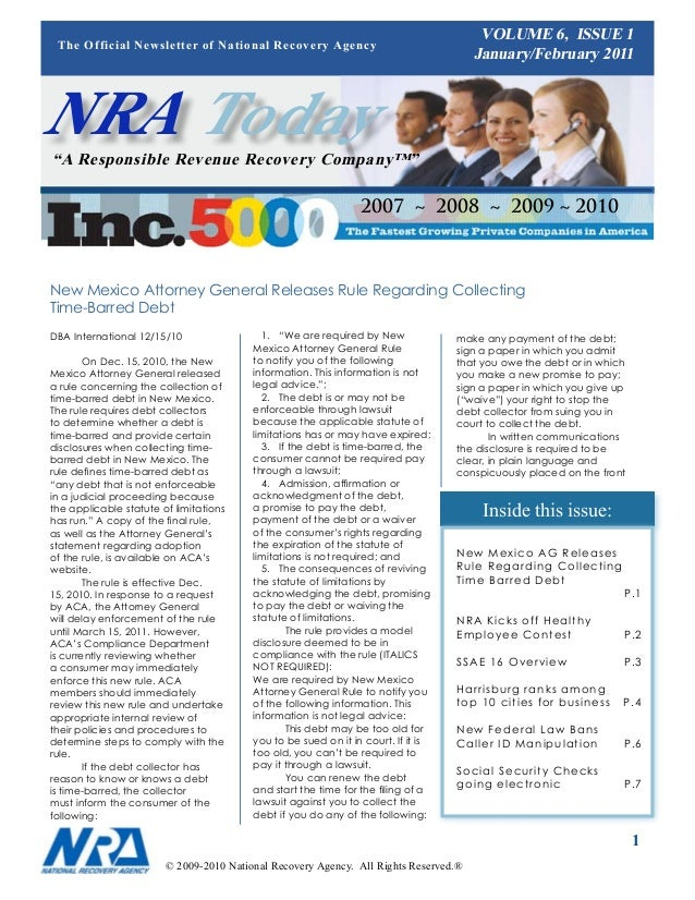 VOLUME 6, ISSUE 1 The Official Newsletter of National Recovery Agency                                                     ...