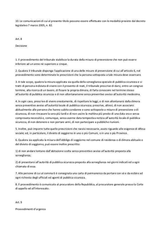 Codice Antimafia - D. Lgs. n. 159, 6 settembre 2011
