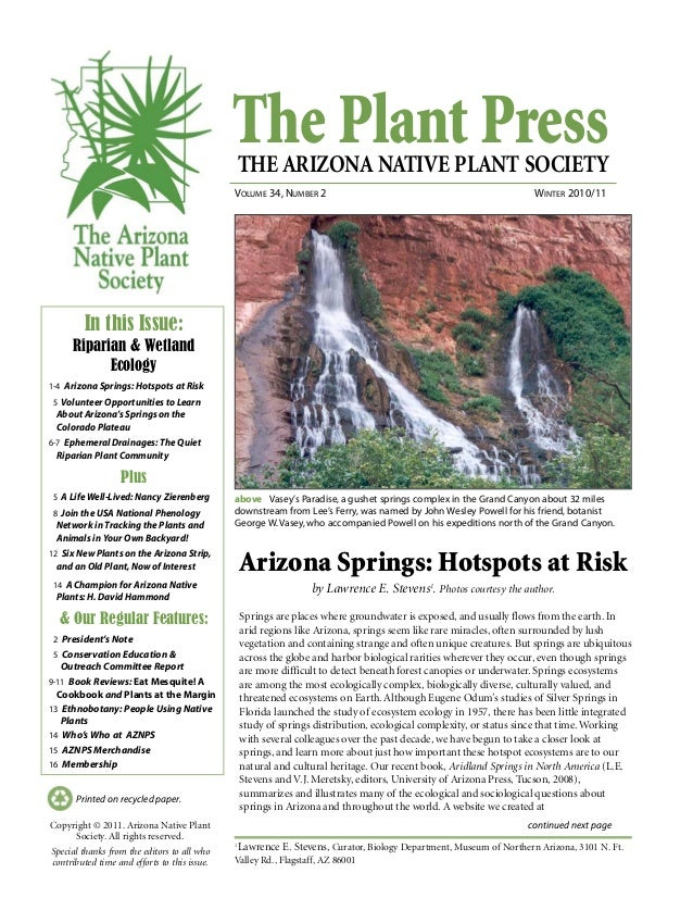 The Plant PressTHE ARIZONA NATIVE PLANT SOCIETY VOLUME 34, NUMBER 2 WINTER 2010/11 continued next page Printed on recycled...