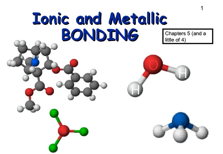 Ionic and Metallic BONDING Chapters 5 (and a little of 4)
