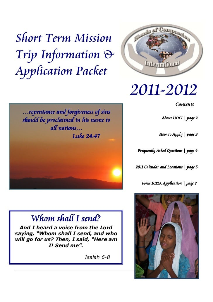 Short Term MissionTrip Information &Application Packet                                         2011-2012                  ...