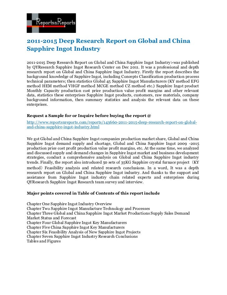 2011-2015 Deep Research Report on Global and ChinaSapphire Ingot Industry2011-2015 Deep Research Report on Global and Chin...