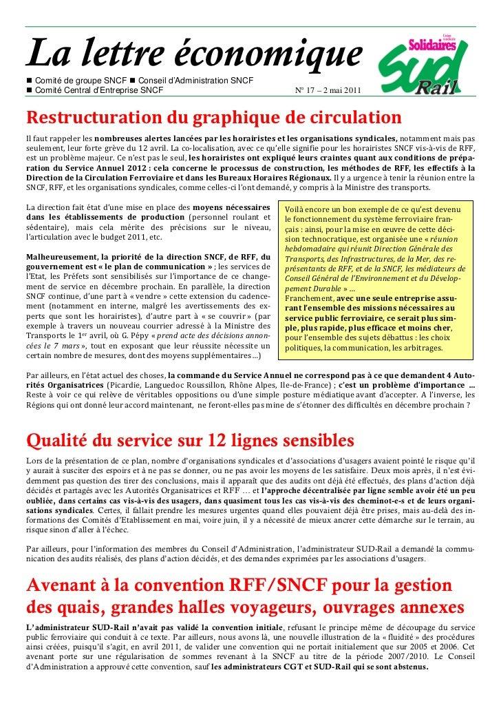 La lettre économique  Comité de groupe SNCF Conseil d'Administration SNCF  Comité Central d'Entreprise SNCF               ...