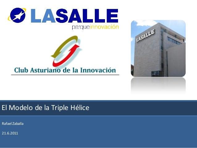 El Modelo de la Triple Hélice innovación                   Parque deRafael Zaballa21.6.2011                            1  ...
