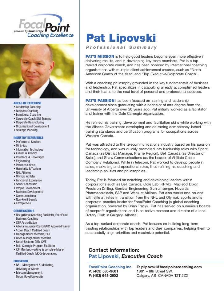 2011 Bio Pat Lipovski Executive Coach
