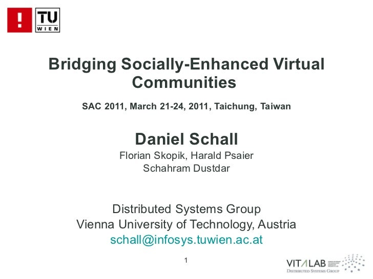 Bridging Socially-Enhanced Virtual Communities  SAC 2011, March 21-24, 2011, Taichung, Taiwan Daniel Schall Florian Skopik...