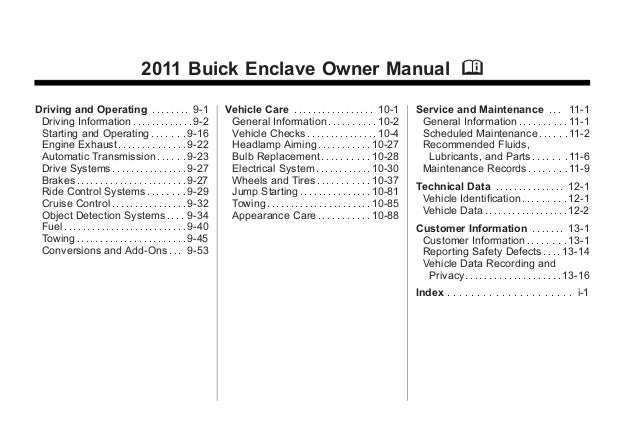 2011 buick enclave toledo owners manual rh slideshare net 2011 buick enclave owners manual online 2012 buick enclave owners manual online