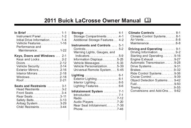 2011 buick lacrosse toldeo owners manual rh slideshare net buick lacrosse owners manual 2015 2012 buick lacrosse owners manual
