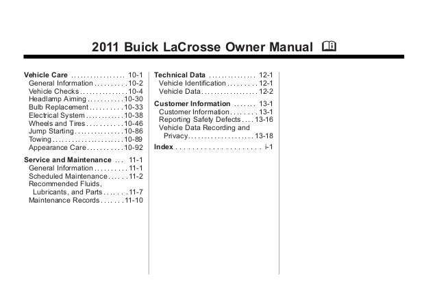 2011 buick lacrosse toldeo owners manual rh slideshare net 2012 buick lacrosse owners manual 2006 Buick Lacrosse Custom