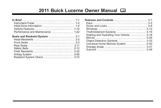 2011 buick lucerne toledo owner manual rh slideshare net owners manual lucent a2011-2 owners manual 2007 buick lucerne