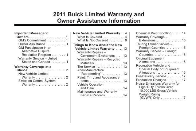 2011 Buick Regal Toledo Warranty