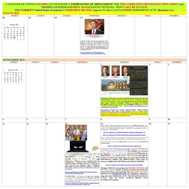 CALENDAR OF EVENTS LEADING TO NEWSOME'S TERMINATION OF EMPLOYMENT With THE GARRETSON FIRM RESOLUTION GROUP and            ...