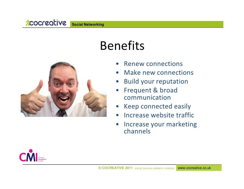 benefits of social networking An overview of the benefits and drawbacks of online social media services such as facebook, linkedin and twitter.