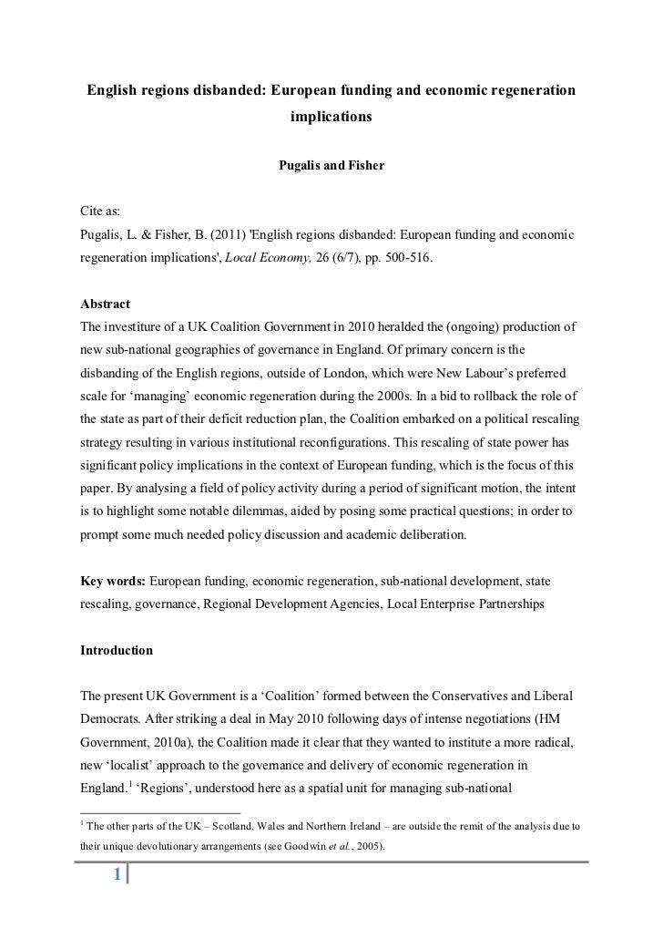 English regions disbanded: European funding and economic regeneration                                                 impl...