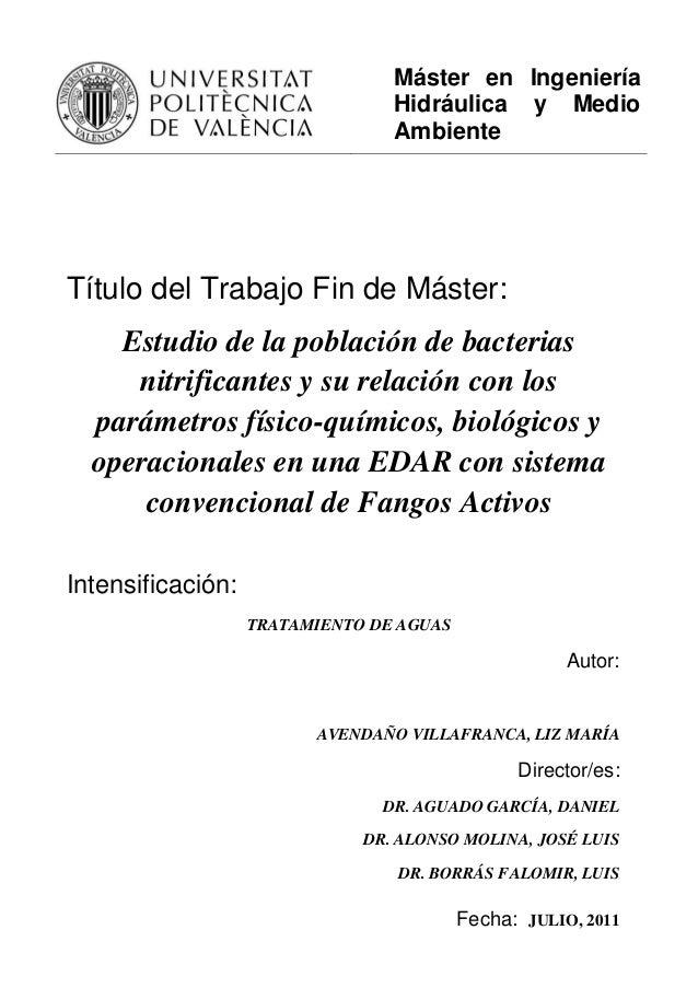 Máster en Ingeniería Hidráulica y Medio Ambiente Título del Trabajo Fin de Máster: Estudio de la población de bacterias ni...