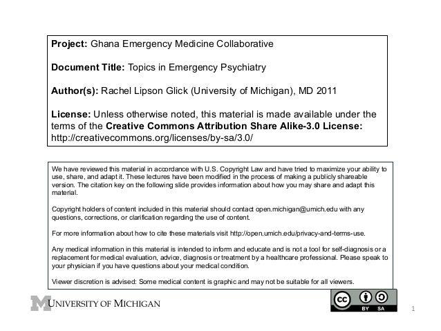 Project: Ghana Emergency Medicine Collaborative Document Title: Topics in Emergency Psychiatry Author(s): Rachel Lipson Gl...