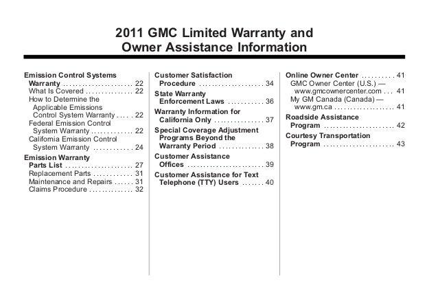 2011 GMC Acadia Toledo Warranty