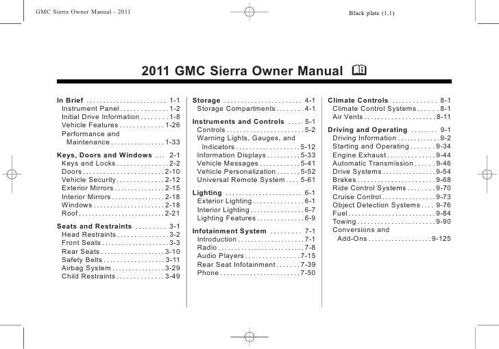 2011 GMC Sierra Toledo Owners Manual Ballas Buick GMC