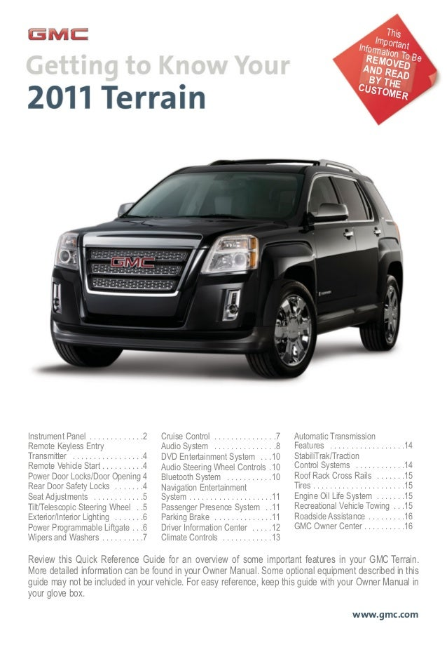 Review this Quick Reference Guide for an overview of some important features in your GMC Terrain. More detailed informatio...