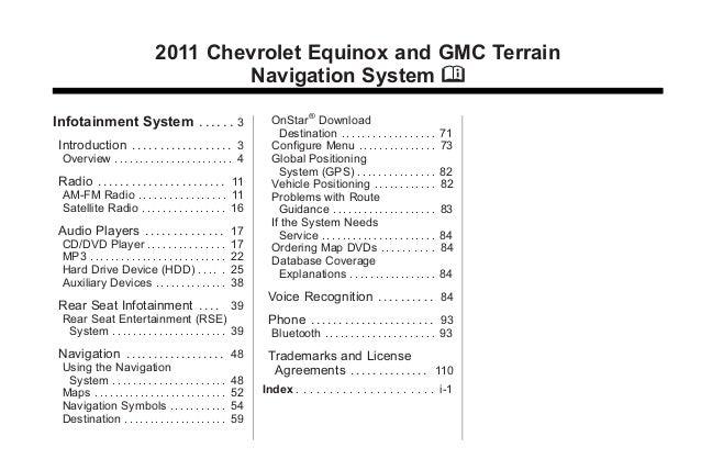 Black plate (1,1)Chevrolet Equinox and GMC Terrain Navigation System - 2011 2011 Chevrolet Equinox and GMC Terrain Navigat...