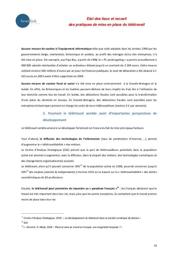 Etat des lieux et recueil                                               des pratiques de mise en place du télétravailAucun...